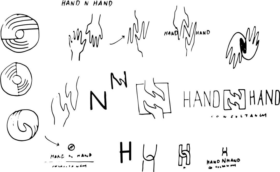 Hand N Hand logo ideation sketches - Hand N Hand