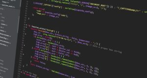 Programming code used in outsourcing web design.